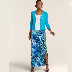 Chico's Floral Sandra Side Split Maxi Skirt
